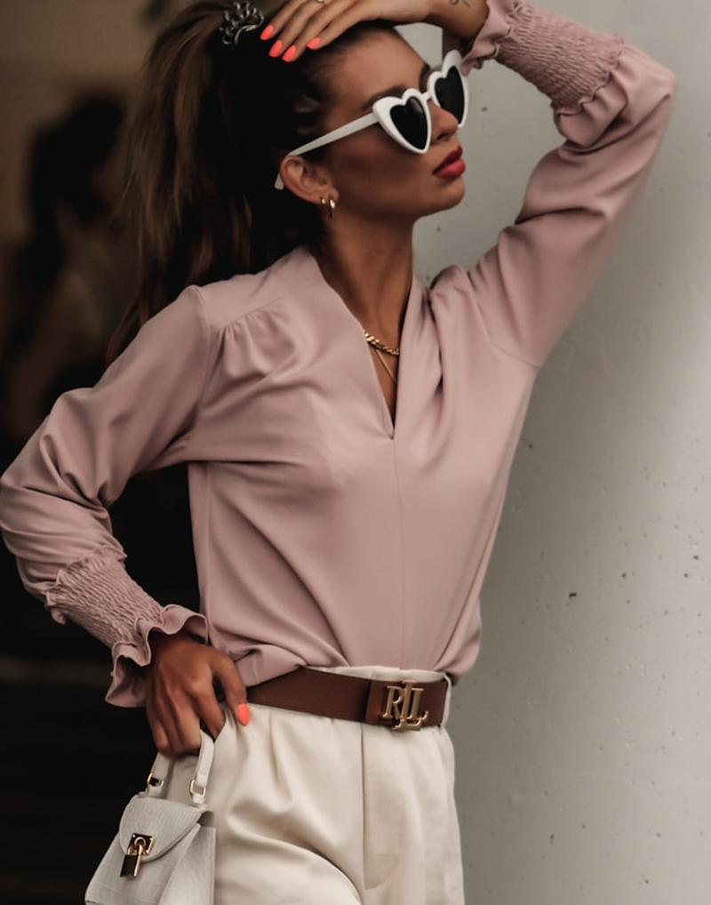 elegancka bluzka pudrowy róż